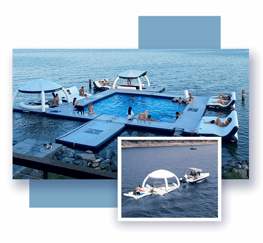 AquaBanas-_-children-having-fun-with-custom--and-in-stock-inflatable-superyacht-toys-that-pump-up-the-funair-inflatable-slides-swimming-platform-are-ready-to-use-on-land-a